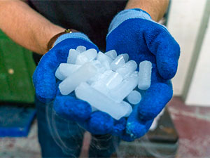 Dry ice in hands