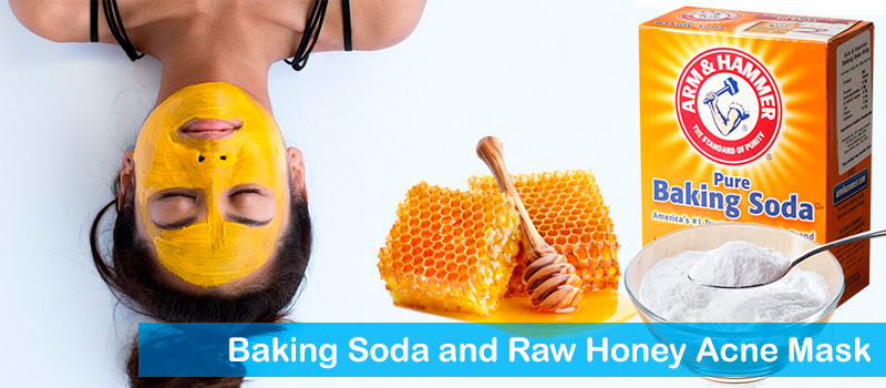 Baking soda and raw honey acne mask