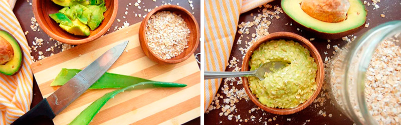 Acne Face Mask: aloe vera, oatmeal, avocado