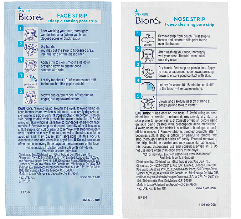 Face and Nose Strips Instructions by Biore