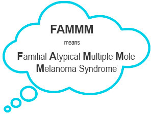FAMMM means Familial Atypical Multiple Mole Melanoma Syndrome