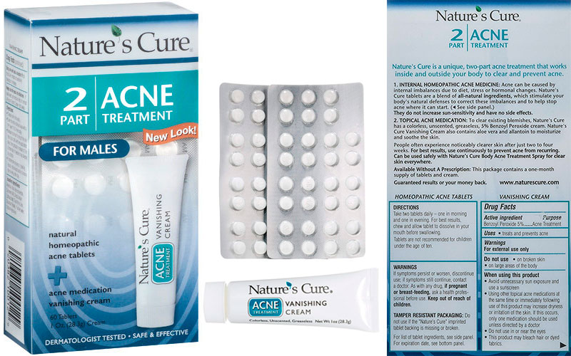 Nature's Cure Acne Treatment Pills for Males