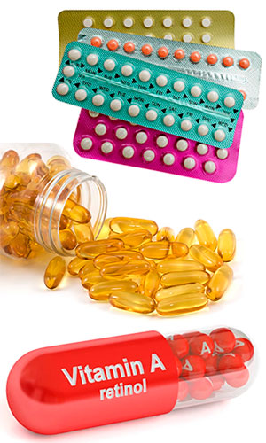 Contraceptive pills, fish oil and vitamin A