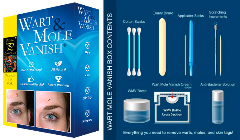 Wart & Mole Vanish and box contents